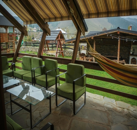Comfy terrace in open air at Biovaleputna guest house